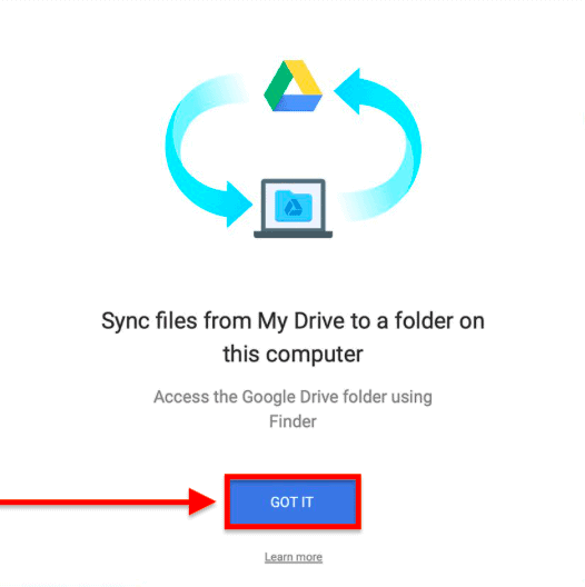 sync files from drive to a folder on the computer